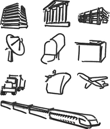 infrastructure buildings: Logistics transport communication icons whiteboard hand-drawn illustration
