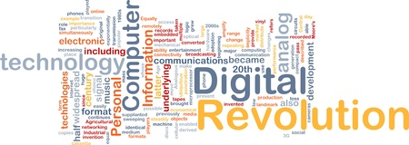 revolution: Background concept wordcloud illustration of digital revolution