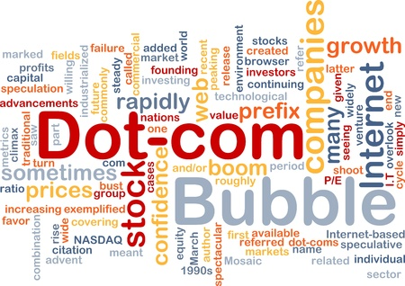 prefix: Background concept wordcloud illustration of dot-com bubble