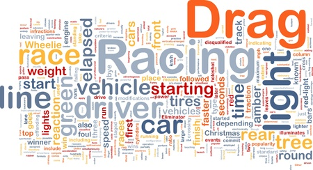 elapsed: Concept diagram wordcloud illustration of drag racing race Stock Photo