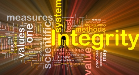 Background concept wordcloud illustration of integrity glowing light illustration