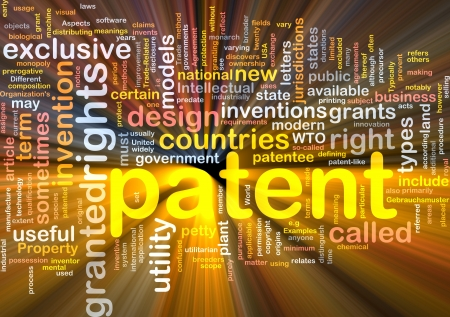 invention: Background concept wordcloud illustration of patent glowing light Stock Photo