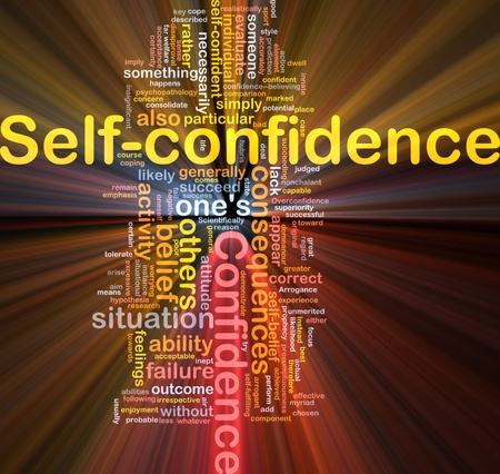 Background concept wordcloud illustration of self-confidence glowing light Stock Illustration - 9298301