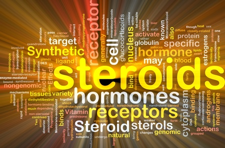 enzyme: Background concept wordcloud illustration of steroids synthetic hormones glowing light Stock Photo