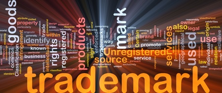 trademark: Background concept wordcloud illustration of  trademark glowing light