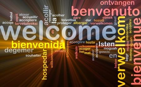 bienvenida: Ilustraci�n de wordcloud concepto de fondo de bienvenida diferentes idiomas brillante luz Foto de archivo