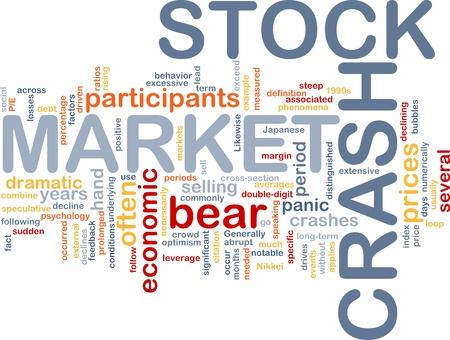 stock market crash: Background concept wordcloud illustration of stock market crash