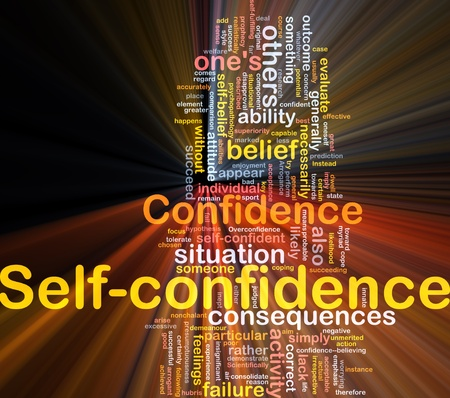 confident: Background concept wordcloud illustration of self-confidence glowing light