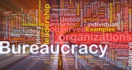 outcomes: Background concept wordcloud illustration of bureaucracy glowing light Stock Photo