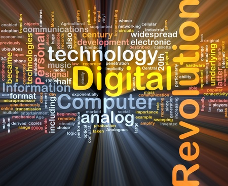 digital technology: Background concept wordcloud illustration of digital revolution glowing light