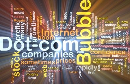 prefix: Background concept wordcloud illustration of dot-com bubble glowing light Stock Photo
