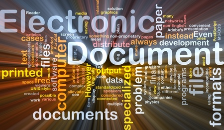 postscript: Background concept wordcloud illustration of electronic documents glowing light