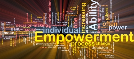 Background concept wordcloud illustration of enpowerment glowing light Stock Photo