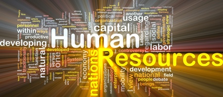 human resources strategy: Background concept wordcloud illustration of human resources glowing light
