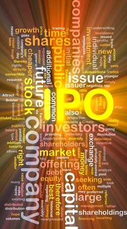 public offering: Background concept wordcloud illustration of company IPO glowing light Stock Photo