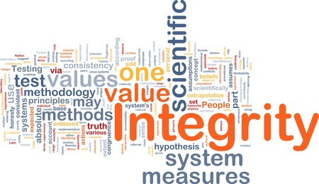 according: Background concept wordcloud illustration of integrity
