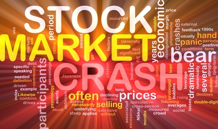 notable: Background concept wordcloud illustration of stock market crash  glowing light