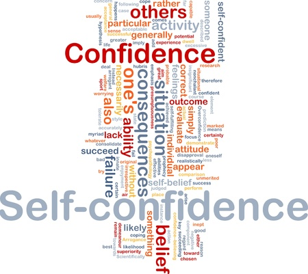 lack of confidence: Background concept wordcloud illustration of self-confidence