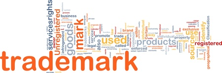 Background concept wordcloud illustration of  trademark illustration