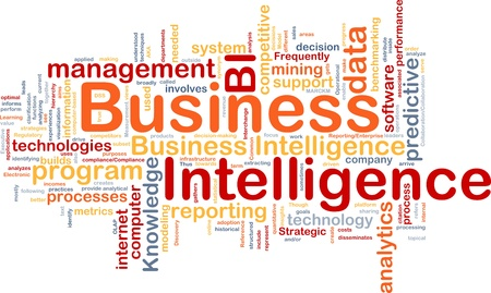 Background concept wordcloud illustration of business intelligence Stock Illustration - 9373334