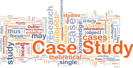Background concept wordcloud illustration of case study illustration