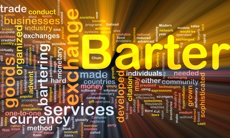 practiced: Background concept wordcloud illustration of barter glowing light