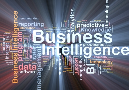 business decisions: Background concept wordcloud illustration of business intelligence glowing light