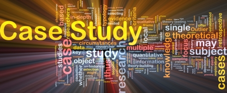 quantitative: Background concept wordcloud illustration of case study glowing light