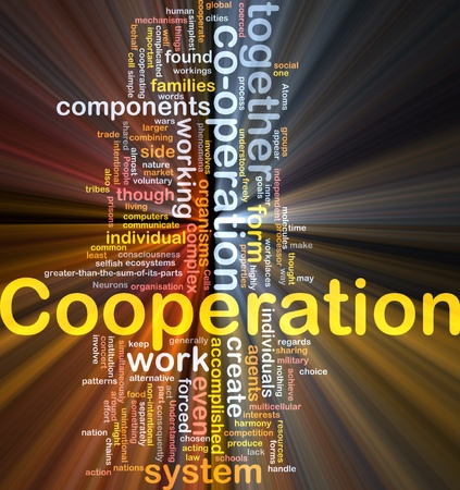 complex system: Background concept wordcloud illustration of cooperation glowing light