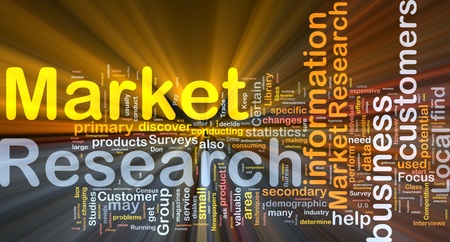 research study: Background concept wordcloud illustration of market research glowing light