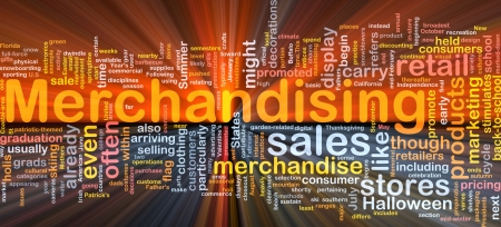 merchandising: Background concept wordcloud illustration of merchandising glowing light