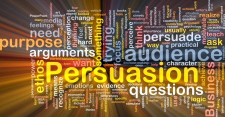 Background concept wordcloud illustration of persuasion glowing light Stock Illustration - 9373355