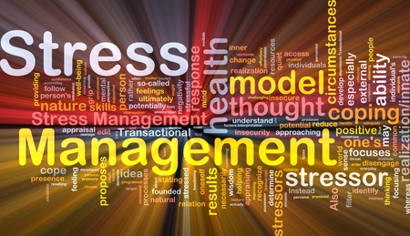 Background concept wordcloud illustration of stress management glowing light Stock Photo