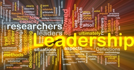 Background concept wordcloud illustration of leadership glowing light Stock Illustration - 9373359