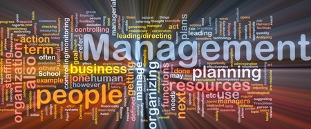 Background concept wordcloud illustration of management glowing light Stock Illustration - 9373351