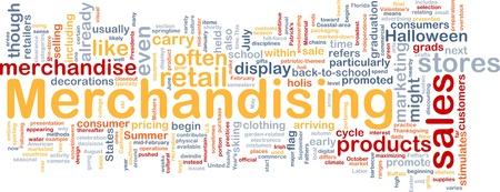 merchandising: Background concept wordcloud illustration of merchandising
