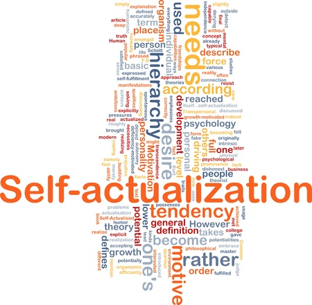 according: Background concept wordcloud illustration of self-actualization