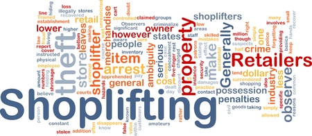 illegally: Background concept wordcloud illustration of shoplifting
