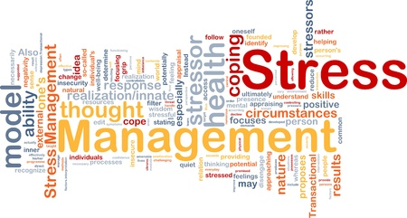 words of wisdom: Background concept wordcloud illustration of stress management
