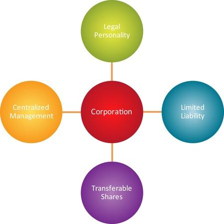 traits: Corporation properties business diagram management strategy concept chart illustration Stock Photo