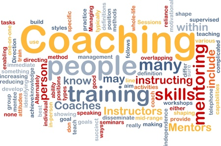 instructing: Background concept wordcloud illustration of coaching