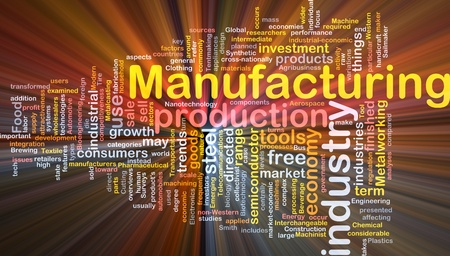 component: Background concept wordcloud illustration of manufacturing glowing light Stock Photo