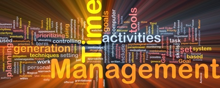 Background concept wordcloud illustration of time management glowing light illustration