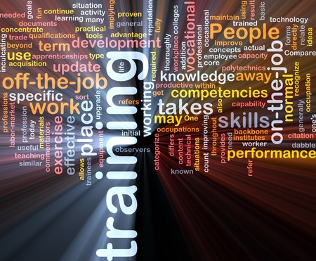 Background concept wordcloud illustration of training glowing light Stock Illustration - 9412614