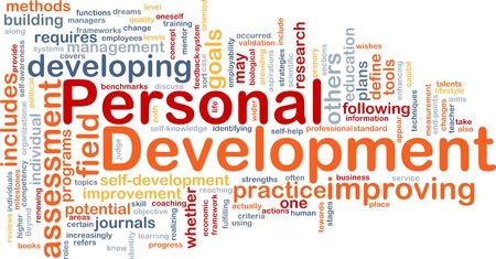 ontwikkeling: Achtergrond concept wordcloud illustratie van persoonlijke ontwikkeling