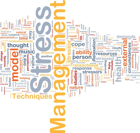 Background concept wordcloud illustration of stress management Stock Illustration - 9412609