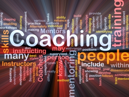 Background concept wordcloud illustration of coaching glowing light illustration