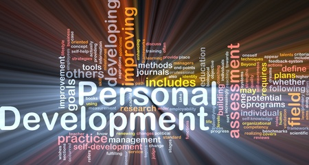 Background concept wordcloud illustration of personal development glowing light Stock Illustration - 9416911