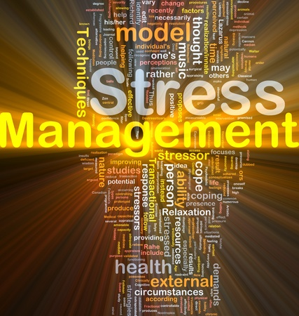 Background concept wordcloud illustration of stress management glowing light Stock Illustration - 9416912