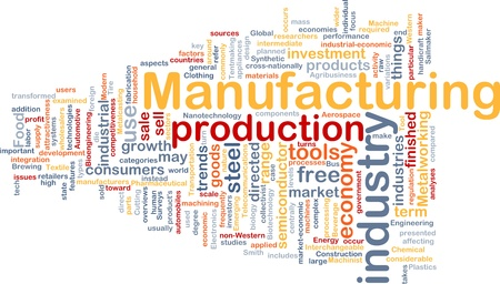 word cloud: Background concept wordcloud illustration of manufacturing